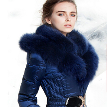 Luxury Fox Fur Hooded Parka For Women Winter 2016 Royal Blue Thick Warm Winter White Duck Down Jacket Women Medium Long Coats