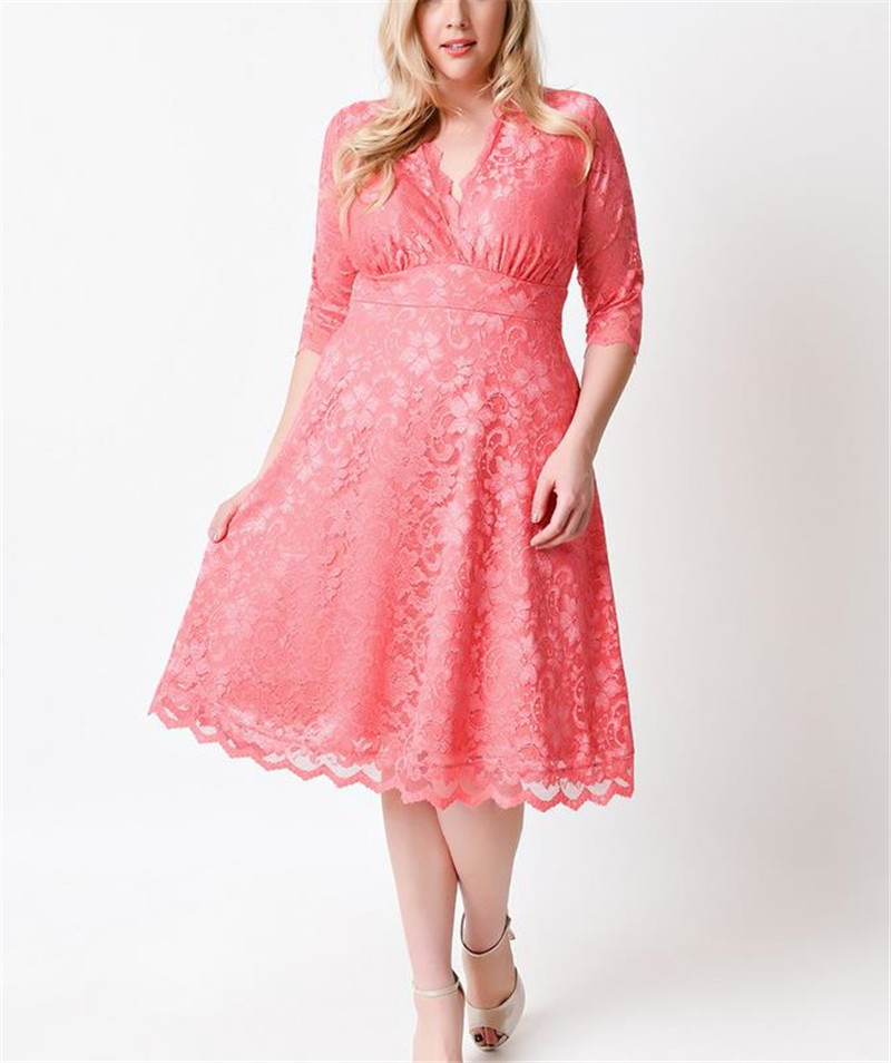 7xl Women Plus Size Lace Dresses Peach New Elegant Women