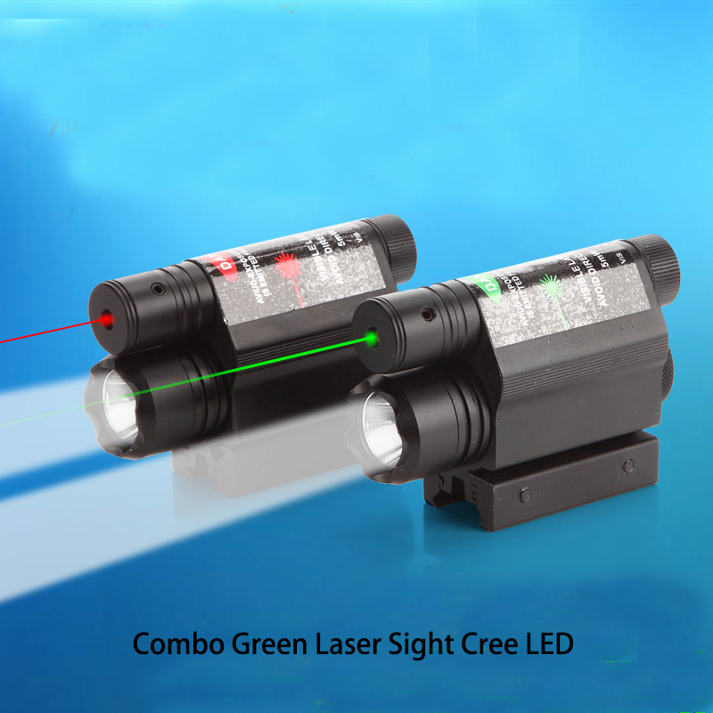 Combo Green Laser Sight Cree LED Flashlight For Gun Rifle Scope Pistol high quality 2 in 1 tactical insight red laser cree q5 led 300 lumen flashlight sight combo for pistol gun 2x3v cr123a