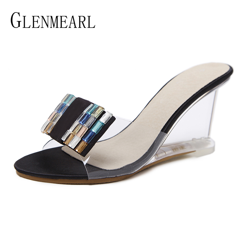 Brand Women Slippers High Heels Shoes Women Wedges Sandals Shoes Summer Shoes Slippers Female Mules Party Platform Shoes high DE meilikelin street style women slippers metal chain high heels slides shoes summer women sandals high heel flip flop mules shoes