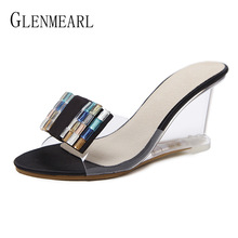 العلامة التجارية النساء زلات عالية الكعب أحذية النساء الأوتاد أحذية المفتوحة تو أحذية الصيف النعال الإناث البغال حزب منصة أحذية عالية DE