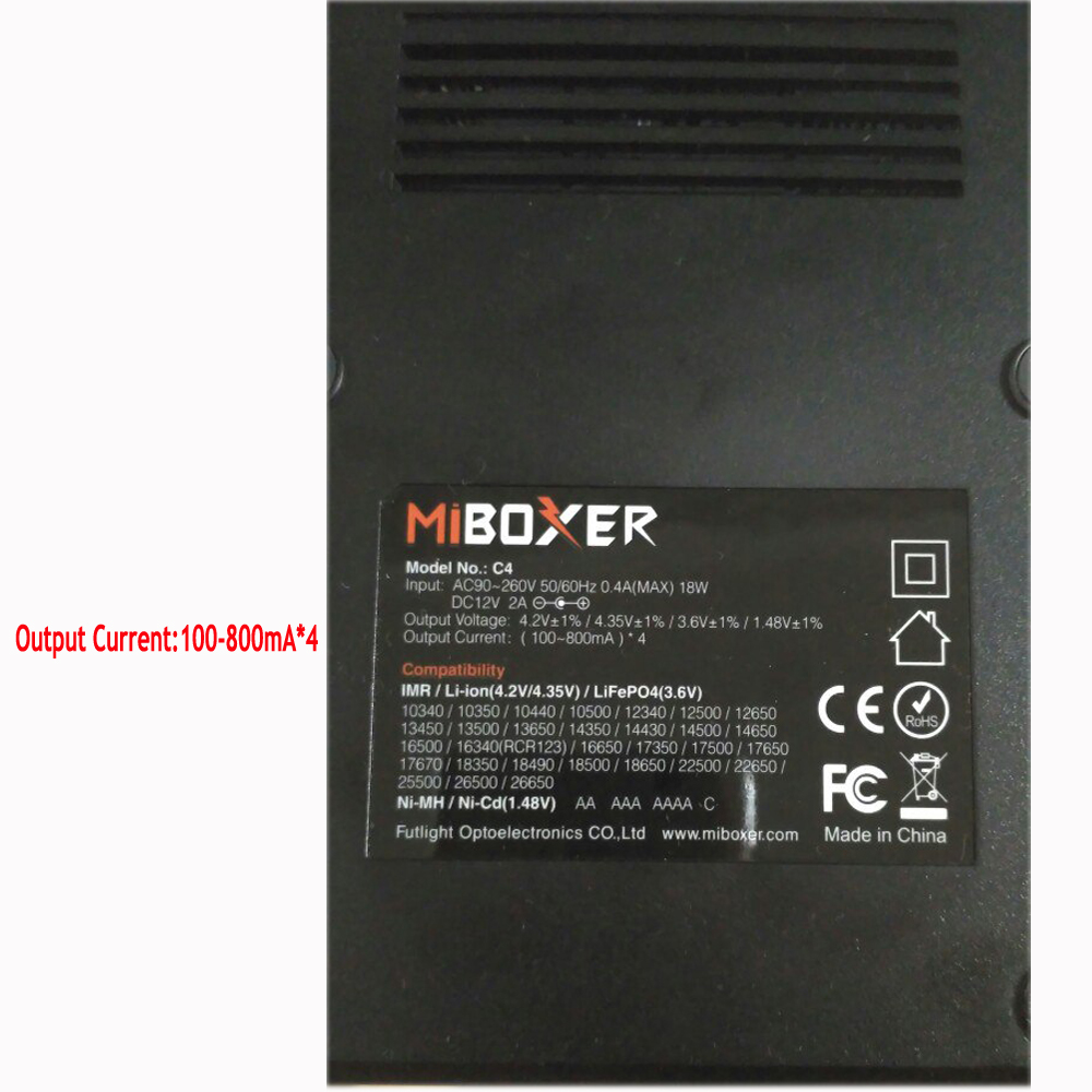 Miboxer C4 D4 VC4 ЖК-дисплей Smart Батарея Зарядное устройство с 12 В автомобиля Зарядное устройство для Li-ion/IMR/INR/ ICR/LiFePO4 18650 14500 26650 AAA 100-800 мАч