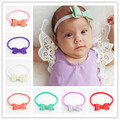 10pcs/lot U Pick Color 8cm Nylon Headband With Faux Leather Bow Tie Boutique Baby Girls Hair Accessories Shower Gift FDA219