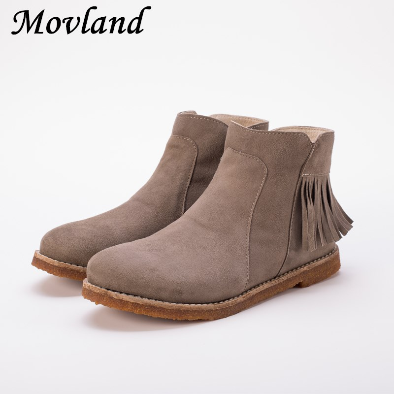 Movland-New Autumn Winter Handmade sheepskin soft front lace tassels for low Sen female women Martin boots ,Beige Brown/Violet 2017 new lace beanies hats for women skullies baggy cap autumn winter russia designer skullies