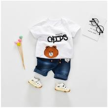 2019 Summer Baby Boys  Girls Clothing Sets Toddler Infant Clothes Suits Bear T Shirt  Shorts Kids Children Casual Suit bear leader kids clothes 2018 fashion sleeveless summer style baby girls shirt shorts belt 3pcs suit children clothing sets