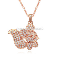 Wholesale Austria AAA Cubic Zircon Squirrel Pendant Necklaces For Women Jewelry Making Three Color