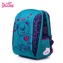 Delune School Bag Children Burden Reducing backpack bear owl Print Orthopedic 3D Embossed Backpack For Girls student 1-5