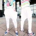 2014 Новая мода Шаровары Случайные бренд Хип-Хоп Большие промежность конические Брюки мужские Брюки мешочки гарем Брюки мужские узкие спортивные штаны