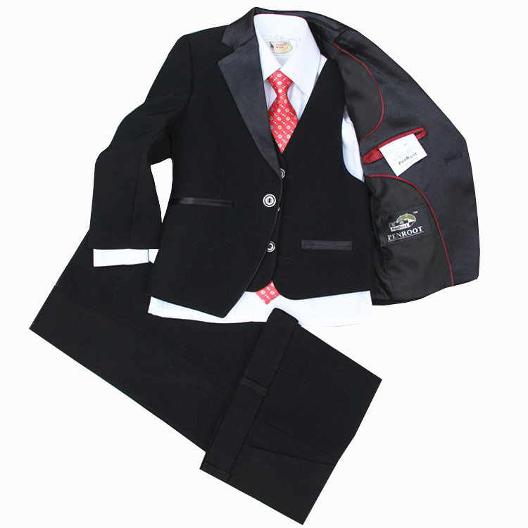 (Jackets+Vest+Pants+Tie+Cravat) Boy Suits Flower girl Slim Fit Tuxedo Brand Fashion Bridegroon Dress Wedding Red Suit Blazer 5