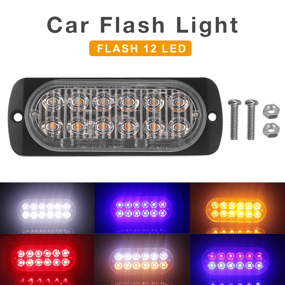 12V/24V 12 LEDs Waterproof Car Emergency Beacon 36W Signal light Warning Light Hazard Flash Strobe Light Bar for Truck