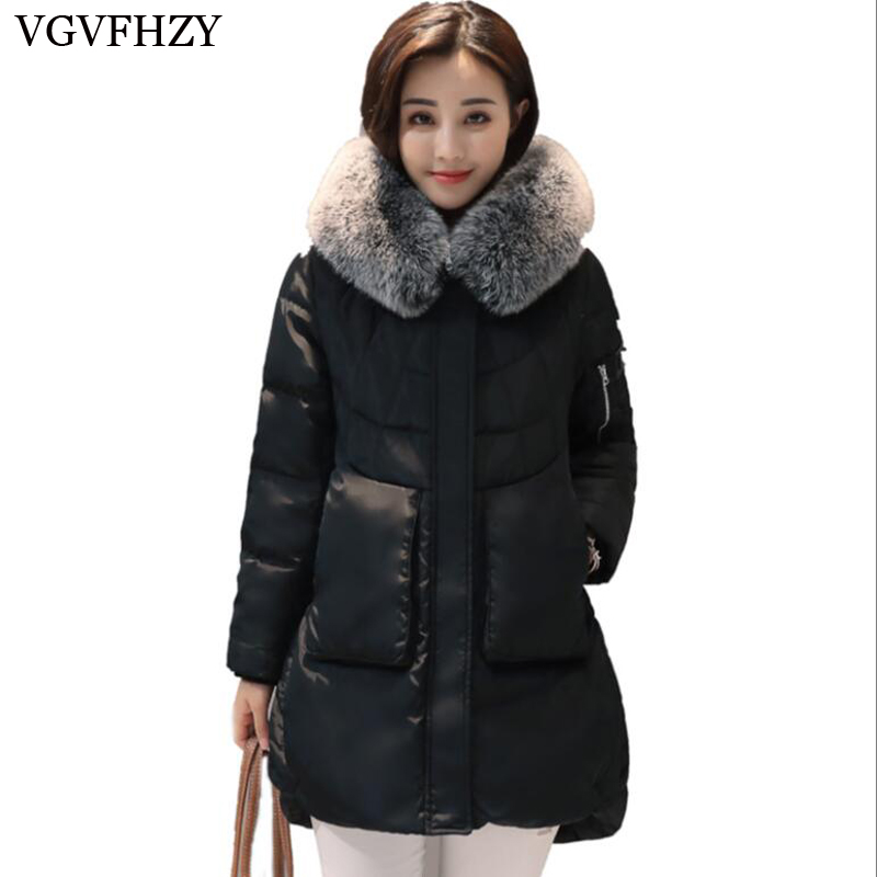 Casual Loose Women's Winter Down Coat With Fox Fur Hood Thicken Warm Duck Down Parka Female Long Puffer Jacket LY667 ymojnv new casual cotton coat 2017 winter jacket women hood down parka female loose long jacket coat thicken warm snow wear