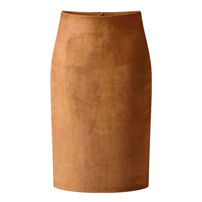High Street Women Suede Multi Color Pencil Midi Skirt Female 2019 Spring Autumn Winter Basic Tube Bodycon Skirts