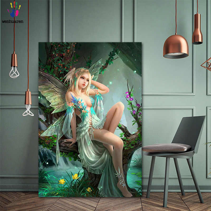 DIY colorings pictures by numbers with colors Elf girl picture drawing painting by numbers framed Home
