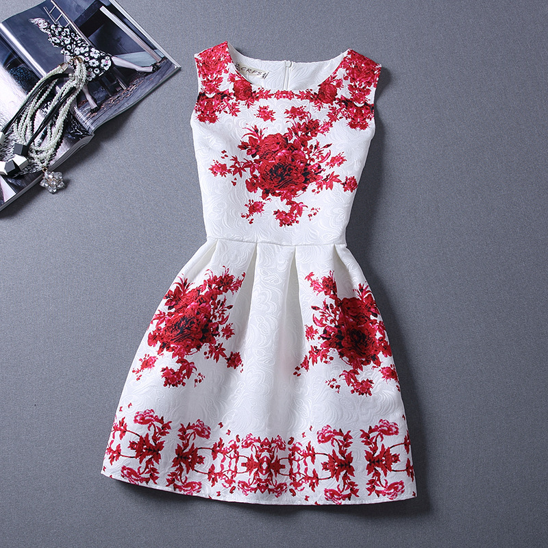 2018 brandneue frühling sommer dress frauen kleidung sexy party schmetterling prinzessin ärmellose vintage print dress vestidos