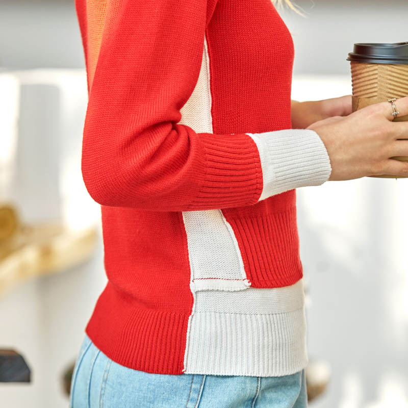 Khaki O Amii Hals shirt Frau Kausalen Langarm Minimalist Pullover Patchwork 2018 PulloverRote Pullover T Herbst Pullover Frauen m0w8nN