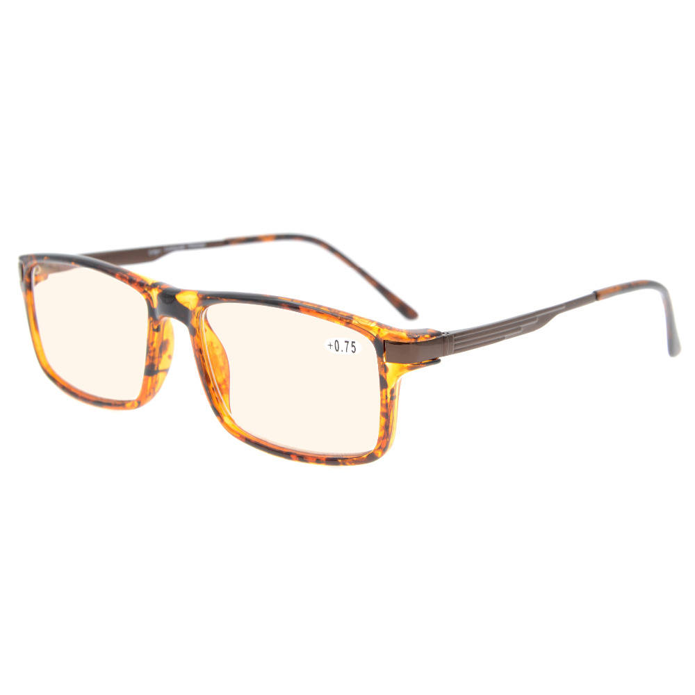CGTR009 Eyekepper Amber Tinted Lenses Computer Readers TR90 Frame Spring Hinges Rectangle Computer Reading Glasses
