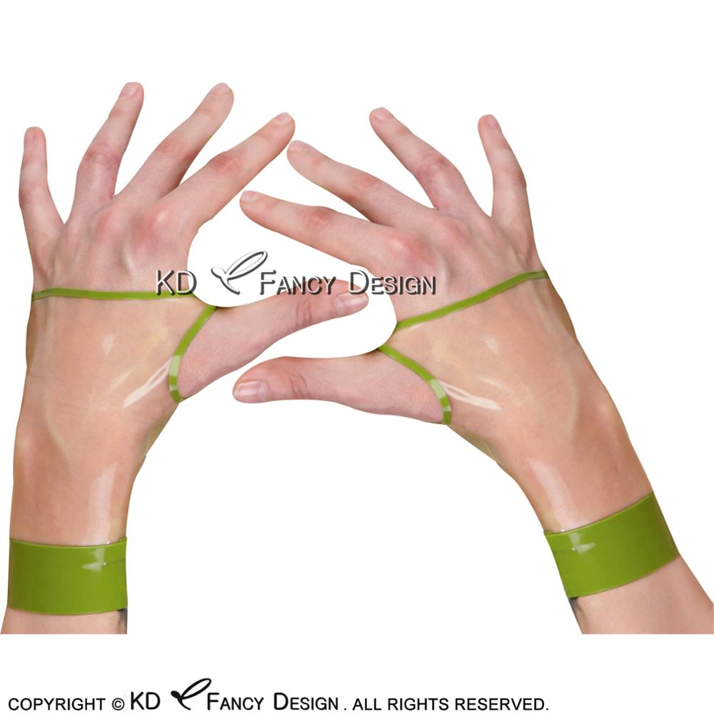 Transparent With Apple Green Sexy Fingerless Short Latex Gloves With Lines Rubber Mittens ST-0044