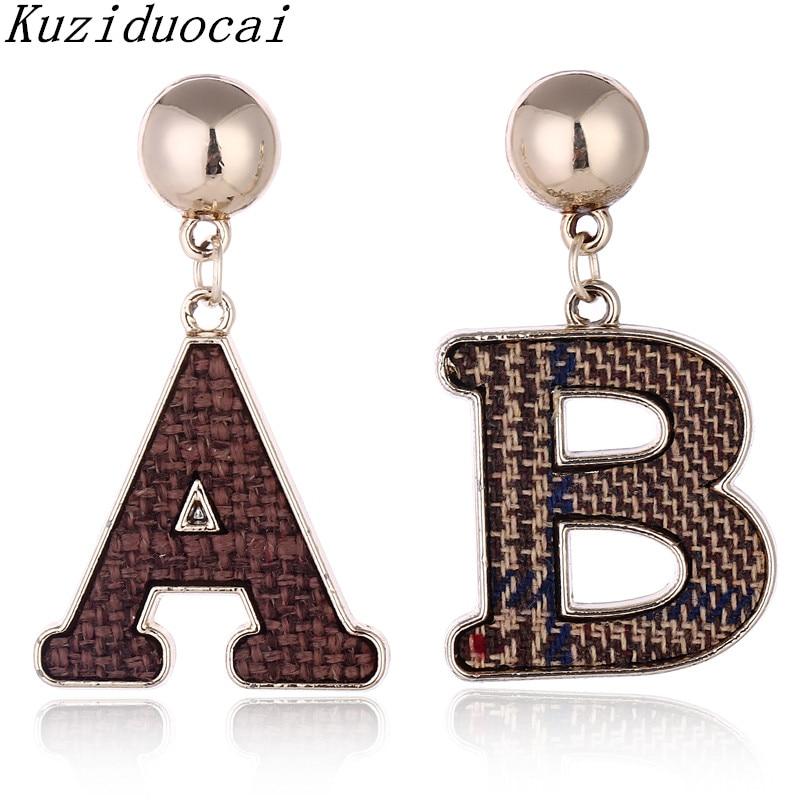 Kuziduocai 2018 New Fashion Fine Jewelry Cast Metal Copper Flannel Woven Letter English A B Stud Earrings For Women Gift E-700