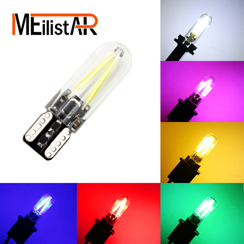 MEILISTAR 2017 newest W5W led T10 cob glass car light Led filament auto automobiles reading dome bulb lamp DRL car styling 12v