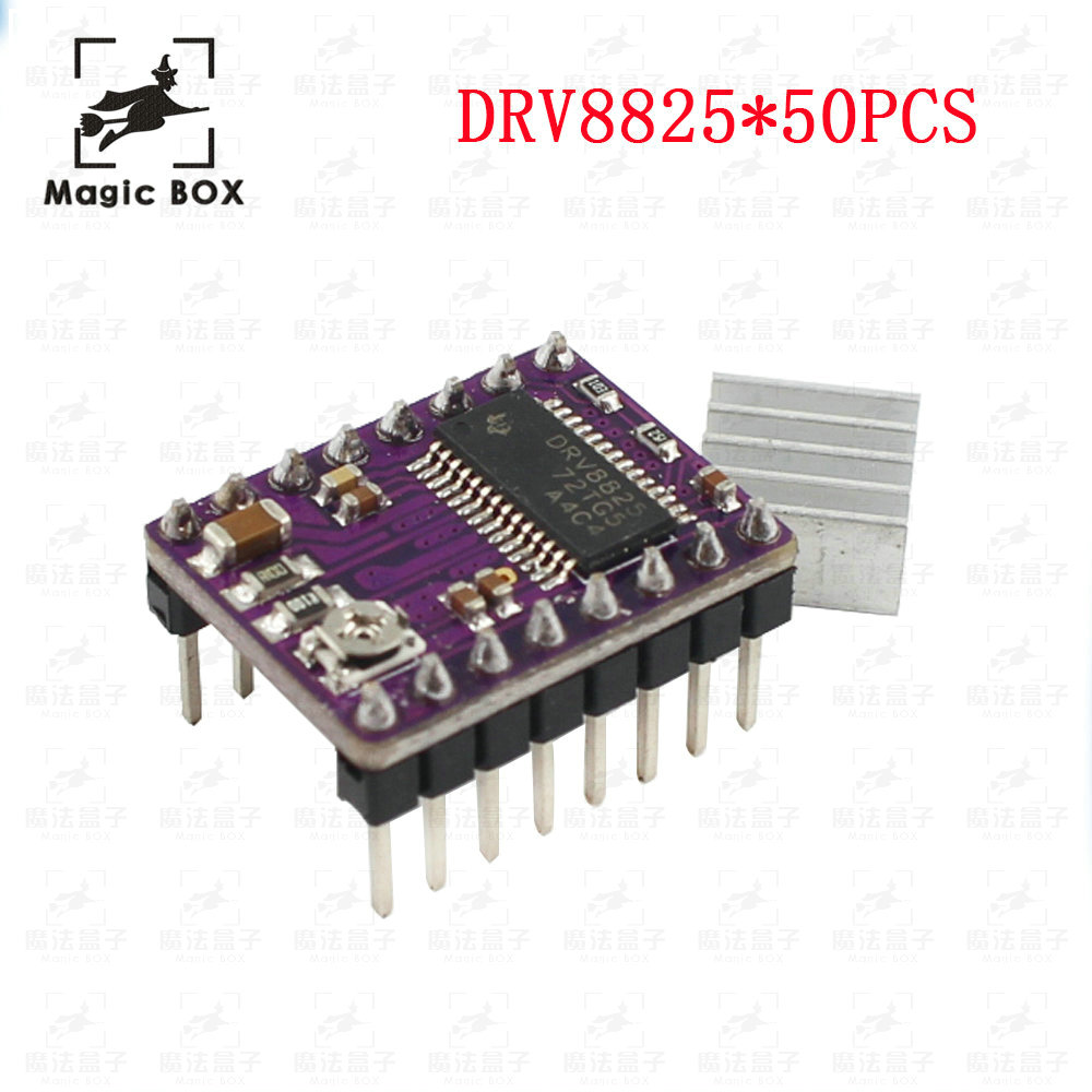50pcs lot StepStick DRV8825 Stepper Motor Driver With Heat sink Carrier Reprap 4 layer PCB RAMPS