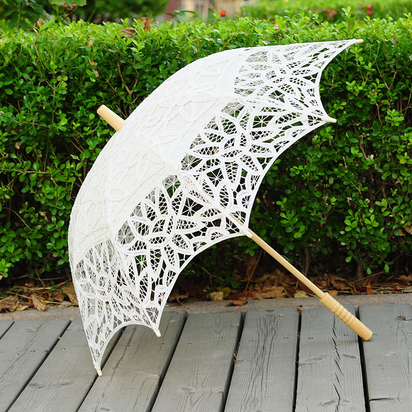 QUNYINGXIU Handmade High-Grade Lace Bunga Umbrella Proses Lace Payung Fotografi Dance Wedding Decoration Sun Umbrella