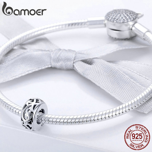 BAMOER Genuine 925 Sterling Silver Retro Curling Grass Pattern Beads fit Bracelets & Necklace DIY Accessories Jewelry SCC716