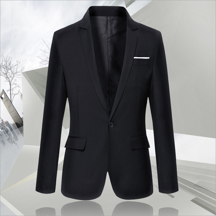 2018 Spring New Mens Lapel Small Suit Teenagers Korean Slim Mens Business Article Inlaid Simple and Stylish Cardigan A Buckle