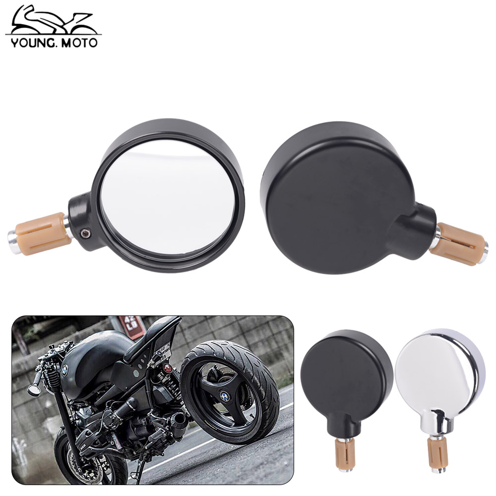 YOUNG.MOTO 7/8 Chrome Black Motocross Rearview Mirror Adjustable Motorcycle Handle Bar End Side Mirrors For Harley Street Bike