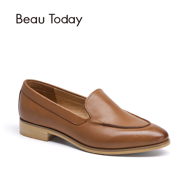 BeauToday Moccasin Loafers Women Flats Top Quality Genuine Leather Fashion Slip-On Pointed Toe Calfskin Brand Shoes 27011 beautoday genuine leather crystal loafer shoes women round toe slip on casual shoes sheepskin leather flats 27038