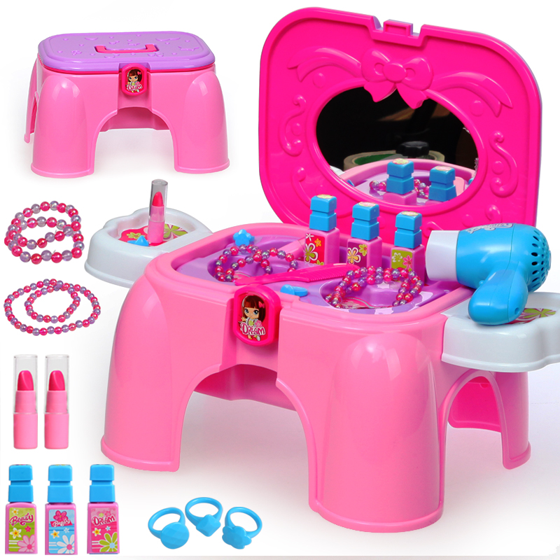 Child furniture toys set baby girl simulation make up toy set girl simulation dresser pretend play classic toys TY81 beiens furniture doll 19 pcs children kids baby girl s cute lovely toy fashion makeup chair make up table set dresser