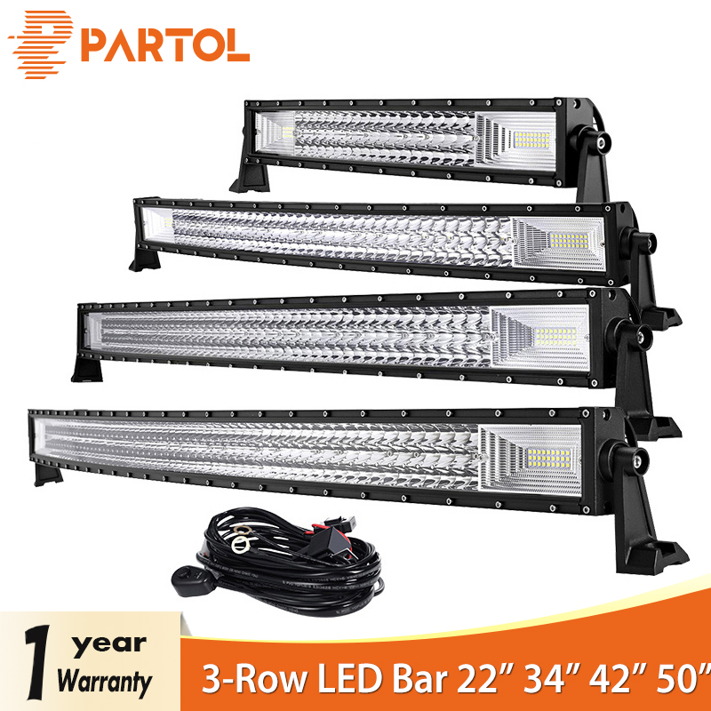Partol 22 324W 34 486W 42 594W 50 702W Tri Row Curved LED Light Bar Offroad Work Light Combo Beam 4X4 4WD LED Bar 12V 24V