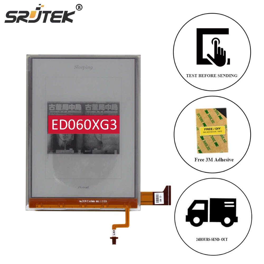 Srjtek 6 ED060XG3 For Pocketbook 650 ED060XG3(LF)T1-00 LCD Display with Backlight Cable E-book Reader LCD Screen Replacement 100% orinigal high quality for 6 ed060xc5 lf lcd display panel screen replacement parts with tools without backlight