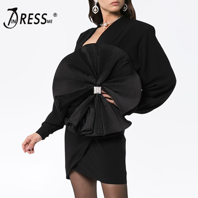 INDRESSME New Bandage Dress Solid Full Length Empire V Neck Women New Arrival 2019 Party Mini