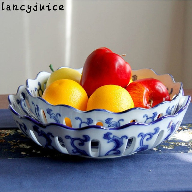 Multifunctional Ceramic Plate Blue And White Porcelain Fruit Bowl Snack Furnishing Articles