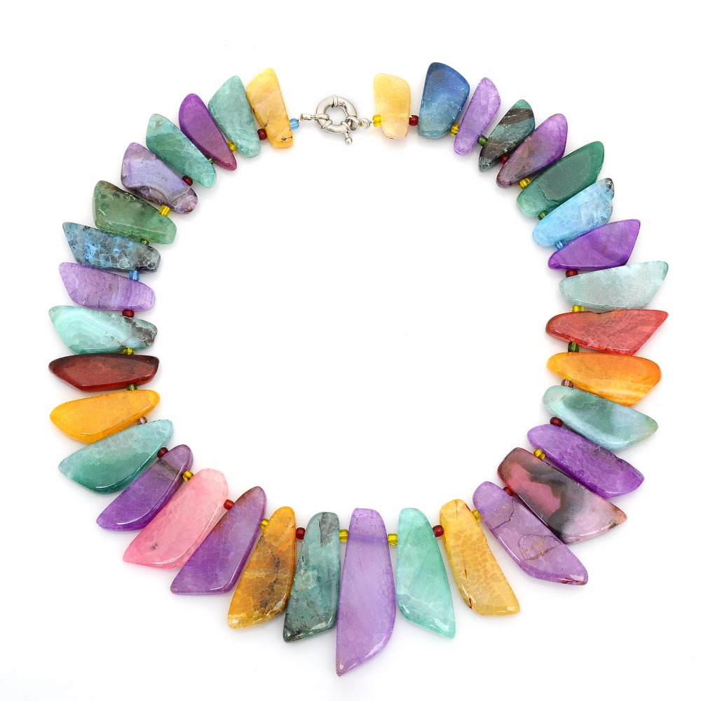 Colliers de charme en pierre naturelle forme de couteau collier de perles en pierre naturelle Agates 5 couleurs mode femmes bijoux ras du cou cadeaux