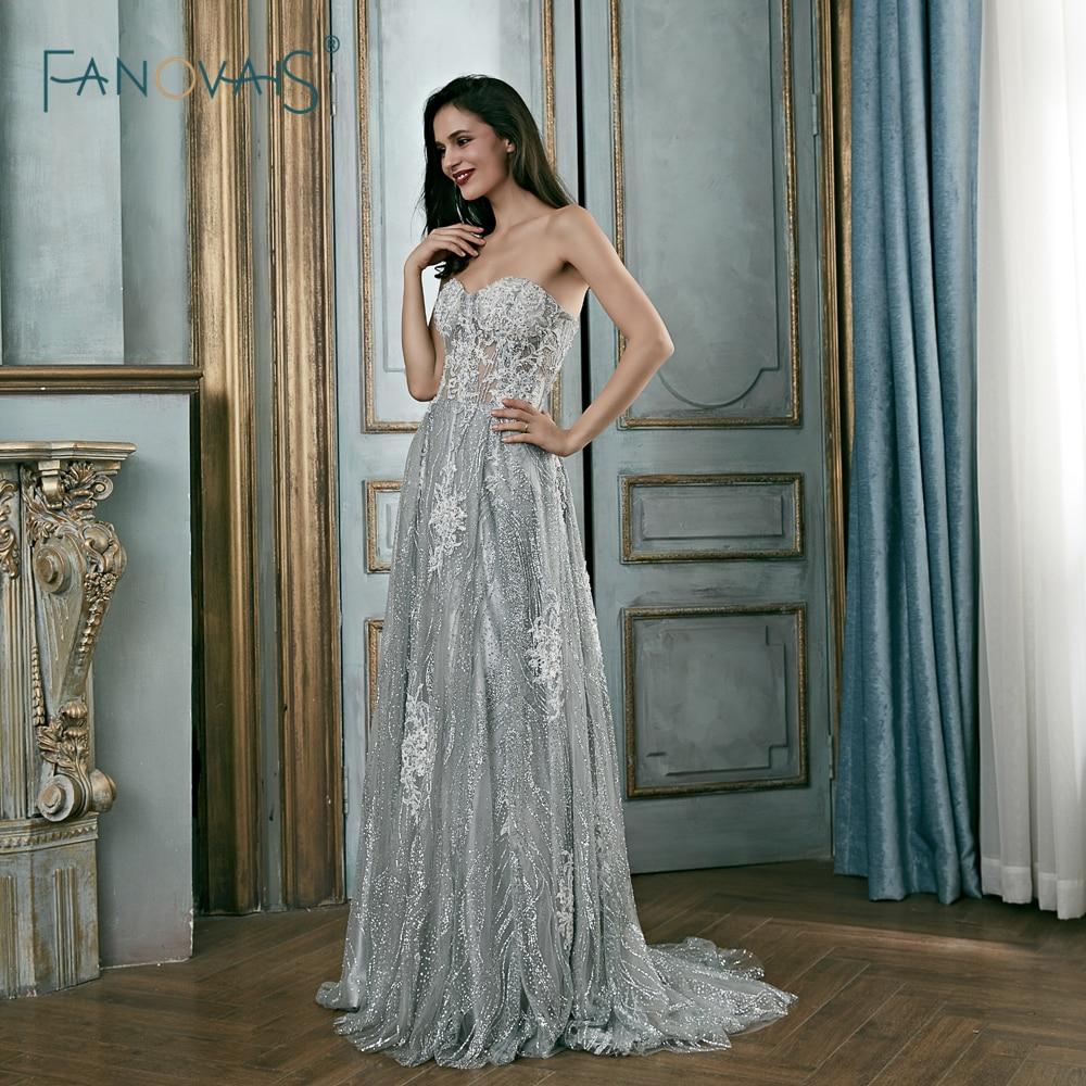 Elegant Silver Grey Evening Dresses Long Sweetheart Glitter Lace Prom Dresses 2018 Beaded Robe de Soiree