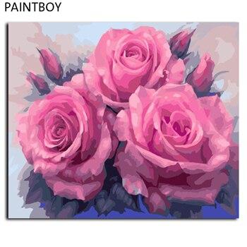 ציור תמונות ממוסגר מודרני פרח DIY DIY הדיגיטלי בד ציור שמן עיצוב בית לסלון GX7903