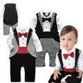 Meninos inverno roupas Romper cavalheiro de laço xadrez macacão roupas Vetement Enfant Garcon Mameluco Bebes
