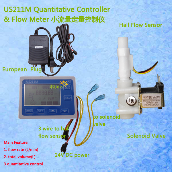 US211M Hall Water Flow Sensor Reader Flow Reader with USN-HS41TA hall effect water flow sensor power adaptor included us208mt flow totalizer usn hs10pa 0 5 10l min 10mm od flow meter and alarmer totalizer frequency counter hall water flow sensor