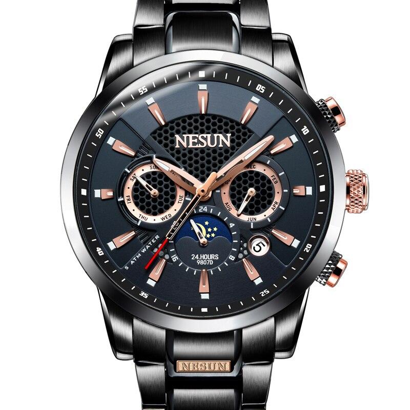 Suisse NESUN marque de luxe montres hommes affichage multifonctionnel automatique mécanique montre lumineuse étanche horloge N9807 1-in Montres mécaniques from Montres    2