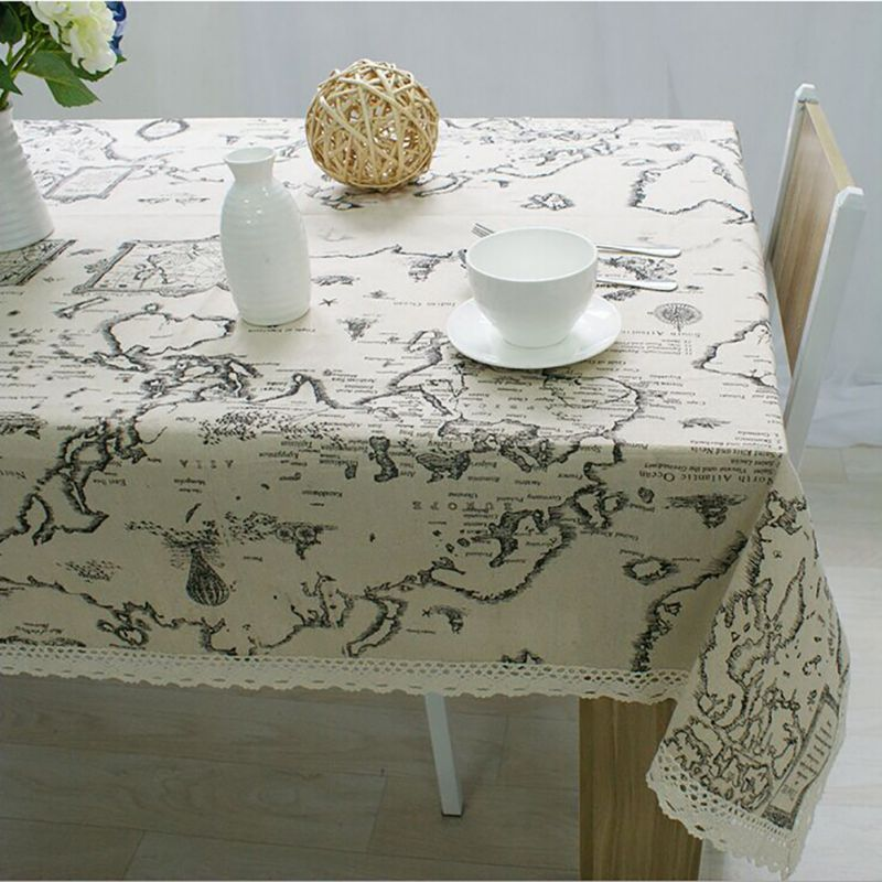 Tablecloth World Map Lace Elegant Decorative Cloth Table Linen Cover For Living RoomChina