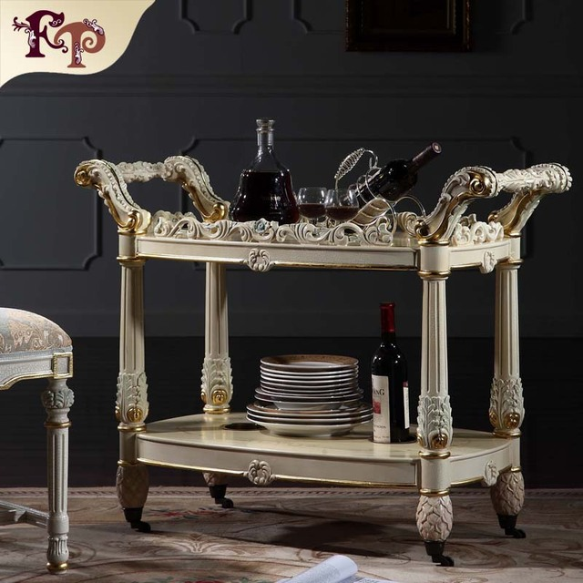 top quality fashion classical furniture for home - royalty hand-made solid wood wine cart