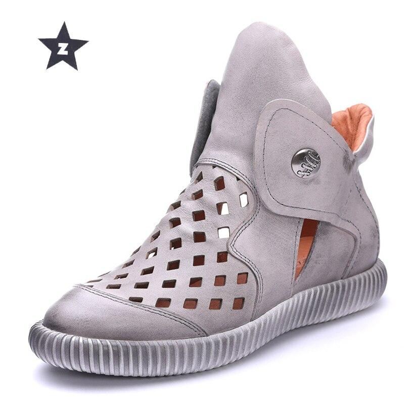 Z mid calf boots genuine leather women shoes summer retro handmade magic diamond hollow round flat