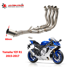 Alconstar- YZF R1 Motorcycle Full System Middle Pipe Exhaust Muffler with Sensor For YAMAHA YZF-R1 2015-2017 without exhaust