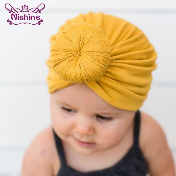 Nishine Newborn Knot Rose   Headwear   Soft Cotton Blend Hat Hair Accessories Kids Shower Turban   Headwear   Birthday Gift