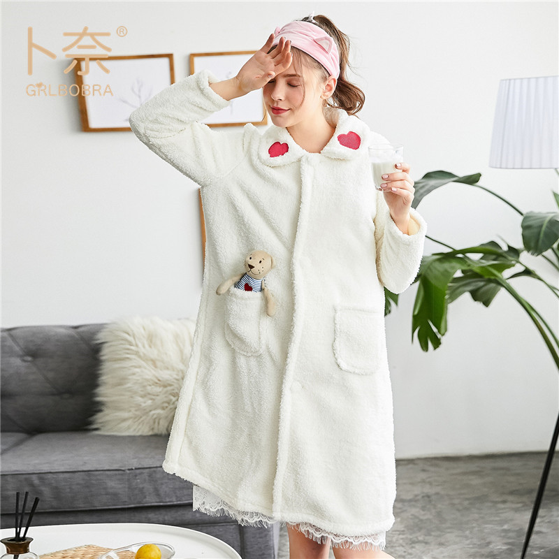 40ed629ef2 GRLBOBRA Women Robes Dress Winter Female Knitted Solid Color Pockets Warm  Pyjamas Knee length Home Clothing Lovely Sleepwear-in Robes from Underwear  ...