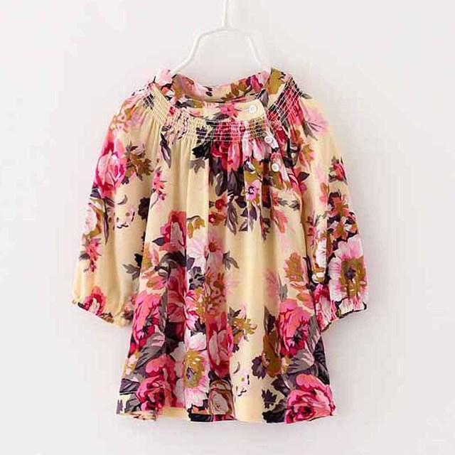 Caliente la venta de los bebés vestido estampado de flores 2-6y niñas pequeñas muchachas cabritos de playa ropa florales