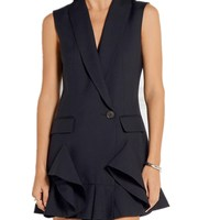 Spring And Summer Brand Ol Sleevesless Dress Simple V Neck Suit Collar A Button Vest Style