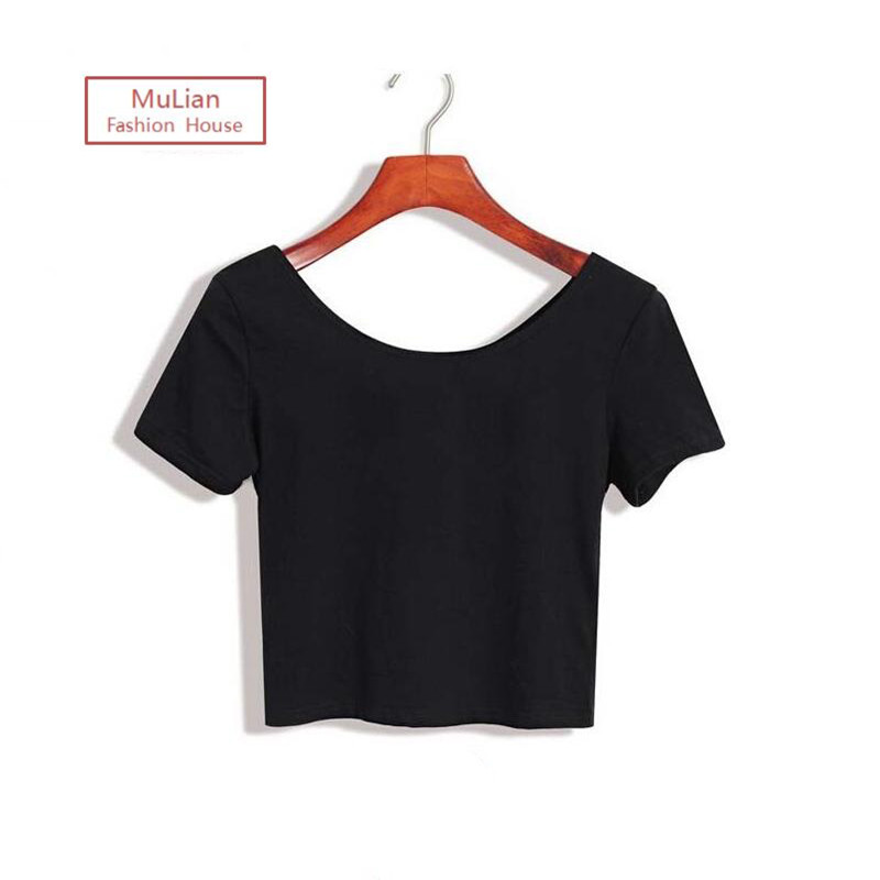 2016 Summer Sexy Crop Top Ladies Short Sleeve T Shirt Women Tops Basic Stretch T-shirts Bare-midriff Solid Color Wild Style