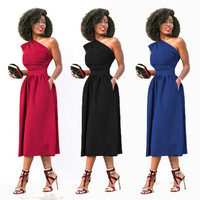 Fashion One Shoulder Office A Line Dress Women Spring Autumn Empire Waist Pockets Ruched Elegant Party